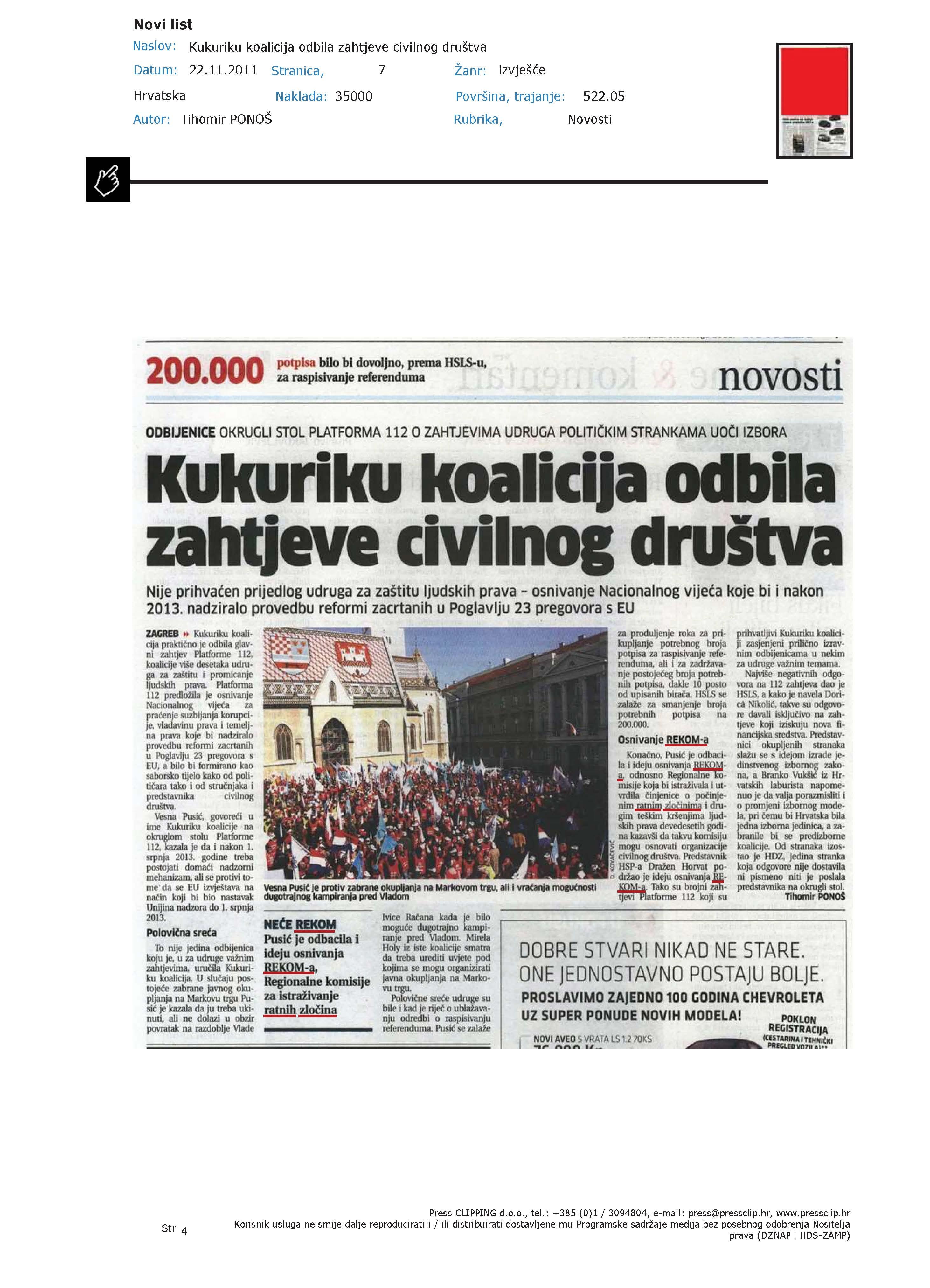Novi list-Kukuriku koalicija odbila zahtijeve civilnog društva-22.11.2011.