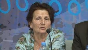 Kada Hotić svedoči tokom Desetog Foruma za tranzicionu pravdu 2014.
