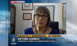 Nataša Kandić o Srebrenici i Srbiji uživo na AlJazeera Balkans (Izvor: AJB)