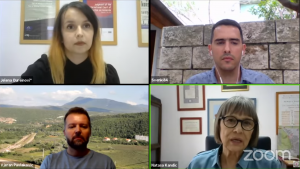 Jelena Đureinović, Sven Milekić, Vjeran Pavlaković i Nataša Kandić u debati o sećanju na Olujiu (Foto: RECOM/Zoom/YT)