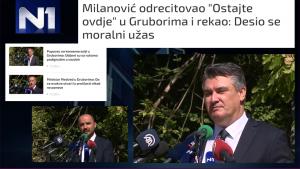 Zoran Milanović, Tomo Medved, Boris Milošević i Milorad Pupovac na komemoraciji u Gruborima 25.08.2020. (Izvor: N1info.com)