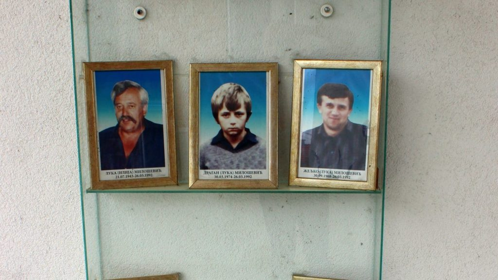 Photographs members of the Milosevic family who were killed in Sijekovac in March 1992. Photo: Vladimir Susak/BIRN