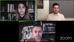 Jelena Đureinović, Aleksandar Todosijević i Rodoljub Jovanović u online debati o ratnim 1990-im obrazovanju (Izvor: Zoom/FHP)