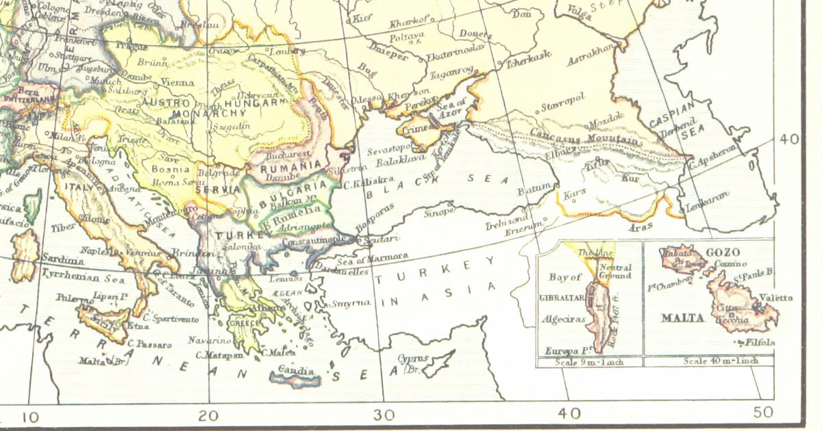 Map of Europe from XIX century (Source: British Library)